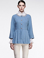 CARBAMMI  Women's Going out Cute CoatSolid Round Neck Long Sleeve Fall Blue Wool Opaque