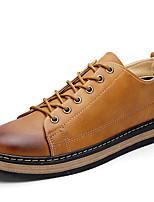 Черный / Коричневый / Желтый-Мужской-Для офиса / На каждый день / Для занятий спортом-Кожа-На плоской подошве-Удобная обувь-Кеды