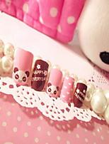 caixa cartoon falsa produtos para unhas patch de manicure unha unhas pedaço 24 urso peça