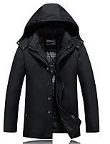 Manteau Doudoune Hommes Chic de Rue Grandes Tailles Couleur Pleine-Polyester Duvet de Canard Blanc Manches Longues Noir / Marron Capuche