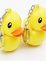 Rhubarb Duck Shape LED Sound Emitting Key Ring Will Quack Called Flashlight Multifunction Key Ring Pendant