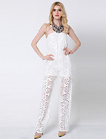 1287 Women's Solid White JumpsuitsSimple Strapless Sleeveless