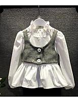 Menina de Camisa,Casual Cor Única Algodão Primavera / Outono Branco