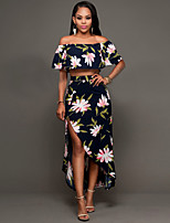 Women's Casual/Daily / Club Sexy / Vintage Summer / Fall T-shirt Skirt Suits,Floral Boat Neck Short Sleeve Blue Polyester Medium