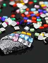 Designed 12 Colors 3D Square 3mm Flatback Shiny Rhinestone Nail Art Salon Stickers Tips DIY Decorations With Wheel