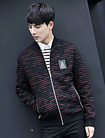 Men's Casual/Daily Simple Jackets,Solid Long Sleeve Fall / Winter Red / Black Wool Medium