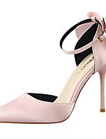 Women's Heels Spring Summer Fall Comfort Club Shoes Light Up Shoes Leather Dress Party & Evening Stiletto Heel Bowknot BuckleBlack Pink