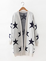 Women's Casual/Daily Cute Long Cardigan,Galaxy Blue / White / Black Halter Long Sleeve Cashmere / Polyester Fall Medium Micro-elastic