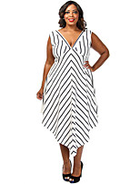 Women's Plus Size Stripe Cascade Long Dress