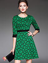 Women's Plus Size / Going out Vintage / Simple Sheath DressGeometric Round Neck Above Knee  Sleeve Green Polyester