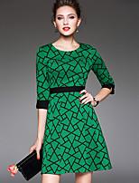 Damen Hülle Kleid-Übergröße / Ausgehen Retro / Einfach Geometrisch Rundhalsausschnitt Übers Knie ¾-Arm Grün Polyester HerbstMittlere