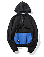 Men's Casual/Daily Simple Short Hoodies,Solid Black Hooded Long Sleeve Cotton Fall / Winter Medium Micro-elastic