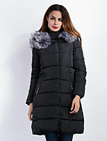 Women's Long Padded CoatStreet chic Casual/Daily Solid-Polyester Polypropylene Long Sleeve Hooded Black