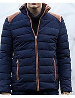 Men's Regular Padded Coat,Simple Casual/Daily Solid-Polyester Polypropylene Long Sleeve Stand Blue