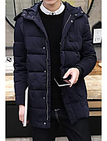 Пальто Простое На подкладке Мужчины,Однотонный На каждый день / Большие размеры Полиэстер Хлопок,Длинный рукав Синий / Черный
