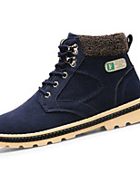 Men's Boots Winter Comfort PU Casual Flat Heel Lace-up Black Blue Yellow
