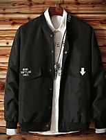 Men's Casual/Daily Simple Jackets,Solid Long Sleeve Fall Black Polyester Thin