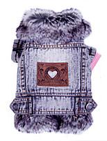 Cat / Dog Denim Jacket/Jeans Jacket Gray Dog Clothes Winter / Spring/Fall Jeans Fashion / Cowboy