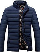 Пальто Простое Длинная На подкладке Мужчины,Однотонный На каждый день Полиэстер Полиэстер,Длинный рукав Синий / Красный / Черный / Серый