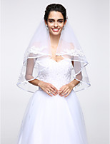 Wedding Veil Two-tier Elbow Veils Lace Applique Edge Net White