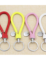 High Grade Knitted Leather Rope Key Buckle Leather Key Chain Cartoon Cartoon Character Hanging Key Button