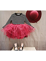 Girl's Casual/Daily Solid DressCotton Fall Black / Red