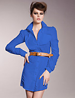 Women's Casual/Daily / Formal / Work Sexy / Vintage / Sophisticated Shirt Dress,Solid Shirt Collar Above Knee Long Sleeve BluePolyester /