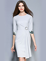 YICHAOFUSHI  Women's Going out Street chic Sheath DressSolid / Striped Round Neck Above Knee  Sleeve Gray Polyester -OMQ-Y2808-220