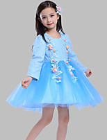 A-line Short / Mini Flower Girl Dress - Cotton / Lace / Tulle Long Sleeve Jewel with Appliques / Flower(s)