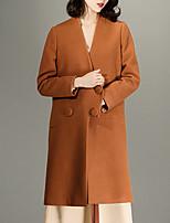 CHOCOLATONE Women's Casual/Daily Vintage CoatSolid V Neck Long Sleeve Winter Brown Wool Medium