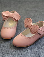 Girl's Flats Spring Summer Fall Other Comfort Leather Outdoor Casual Flat Heel Bowknot Magic Tape Black Pink Beige Walking Other