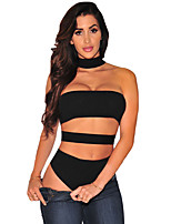 Women's Black Ribbed Cut Out Choker Bodysuit