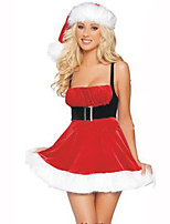 Santa Suits Festival/Holiday Halloween Costumes Red / White Solid Dress / Hat / Leg Warmers Christmas Terylene