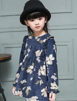 Menina de Vestido,Casual Floral Algodão Primavera / Outono Azul