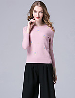 Women's Casual/Daily Simple / Cute Regular Pullover,Floral Pink / White / Gray Round Neck Long Sleeve Cotton Fall / Winter Medium