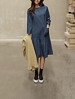 Gaine Robe Femme Sortie / Décontracté / Quotidien simple,Couleur Pleine Col Arrondi Midi Manches Longues Bleu Coton / PolyesterAutomne /