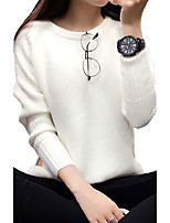 Women's Regular CardiganSolid Blue / White / Gray / Orange Round Neck Long Sleeve Cotton Fall Medium Micro-elastic