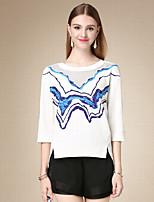Tee-shirt Femme,Imprimé Décontracté / Quotidien simple Automne Manches ¾ Col Arrondi Blanc Coton Fin