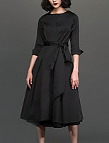 Chocolatone Women's Work Simple Loose DressSolid Round Neck Midi  Length Sleeve Black Polyester