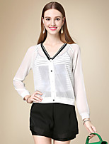 DOF Women's Casual/Daily Simple Fall SetSolid V Neck Long Sleeve White Cotton Thin
