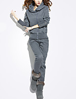 Women's Casual/Daily Active Fall / Winter Set Pant Suits,Solid Hooded Long Sleeve Gray Polyester Thick
