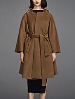 Женский На каждый день Однотонный Пальто Асимметричный вырез,Простое Зима Коричневый Длинный рукав,Шерсть,Средняя