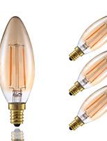 2W E12 LED Filament Bulbs B10 2 COB 160 lm Amber Dimmable / Decorative 120V 4 pcs