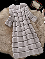 Lusi Fashion  Women's Casual/Daily Simple Fur CoatSolid Long Sleeve Winter Multi-color Rex Rabbit Fur Thick
