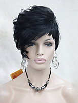 High Quality Heat Friendly Synthetic Hair Black Asymmetrical Women's Short Wig