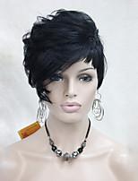 высокое качество тепла дружественных синтетических волос черный короткий парик Асимметричный женщин