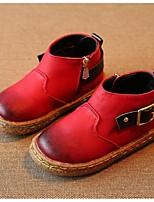 Черный / Коричневый / Красный-Для девочек-На каждый день-МикроволокноУдобная обувь-Ботинки