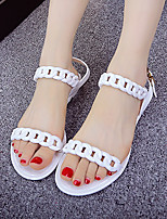 Women's Sandals Summer Comfort Rubber Casual Flat Heel Chain Black White Orange Others
