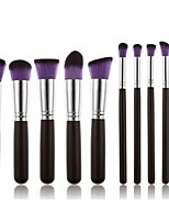 10 Makeup Brushes Set Synthetic Hair Professional / Portable Wood Face / Eye / Lip Black Handle And Purple Brush Hair