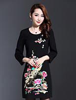 AINIER Women's Casual/Daily Chinoiserie Tunic DressJacquard Round Neck Above Knee Long Sleeve Black Cotton